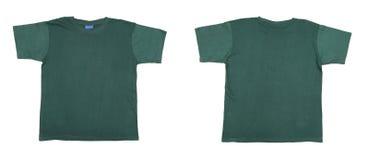 蓝绿色T恤杉前面和后面视图 免版税库存照片