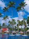 蓬塔Cana,多米尼加共和国- 2013年2月04日:休息在Barcelo Bavaro的普通的游人使有水池的旅馆靠岸 免版税图库摄影