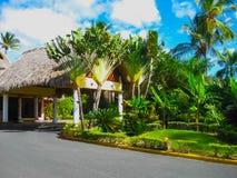 蓬塔Cana,多米尼加共和国- 2013年2月02日:在棕榈下的VIK竞技场布朗卡旅馆 免版税库存图片