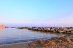 蓬塔Cirica海滩日落的 库存图片