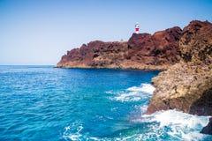 蓬塔de Teno灯塔在特内里费岛,加那利群岛 库存照片