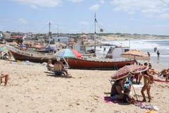 蓬塔del蝙蝠鱼海滩在乌拉圭 免版税库存图片