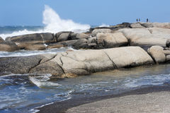 蓬塔del蝙蝠鱼海滩在乌拉圭 免版税图库摄影