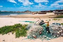 蓬塔del蝙蝠鱼Beach,普遍的旅游地方和  免版税库存照片