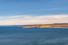 从蓬塔del Marquez Viewpoint, Chubut, Argentin的海景视图 免版税图库摄影