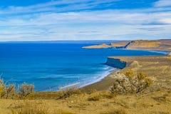 从蓬塔del Marquez Viewpoint, Chubut, Argentin的海景视图 库存照片