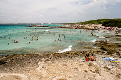 蓬塔della在Gallipoli附近的Suina的海滩在Salento 普利亚 Ita 免版税库存照片