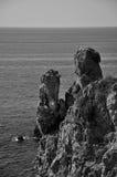 蓬塔Faraglione景色BW, Giglio海岛,意大利 库存照片