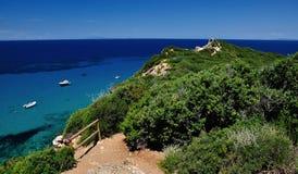 蓬塔Faraglione步行, Giglio海岛,意大利 库存照片