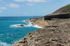 蓬塔Marillos岩石海岸线和海洋  库存图片