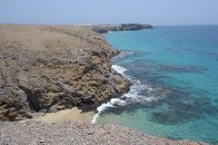 蓬塔papagayo风景,兰萨罗特岛, canarias海岛 免版税库存图片