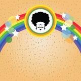 蓬松卷发人和彩虹 图库摄影