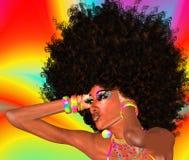 蓬松卷发女孩,抽象背景 免版税图库摄影