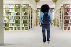 蓬松卷发学生在图书馆里走 免版税库存图片