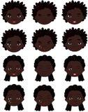 蓬松卷发男孩和女孩情感:喜悦,惊奇,恐惧,悲伤,哀痛 免版税库存照片