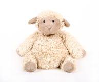 蓬松白色玩具绵羊 库存图片
