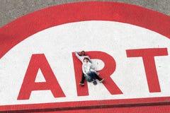 蓬皮杜文化艺术中心的人们在艺术标志 免版税库存照片