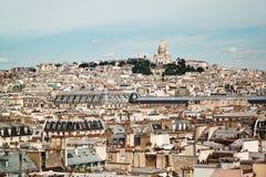 从蓬皮杜文化艺术中心的顶端风景看法 法国巴黎 免版税库存图片