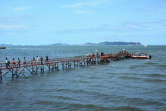蓬莱亭子海码头 库存图片