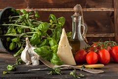 蓬蒿、大蒜、蕃茄和干酪 免版税库存图片