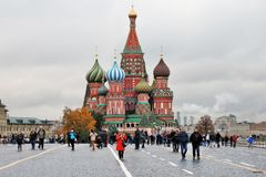 蓬蒿大教堂莫斯科俄国s圣徒 库存照片