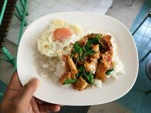 蓬蒿炒饭用酥脆猪肉和鸡蛋 免版税库存照片
