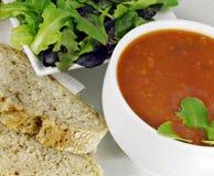 蓬蒿面包沙拉汤蕃茄 免版税图库摄影