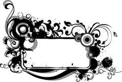 蔓藤花纹框架grunge黑白照片 免版税图库摄影