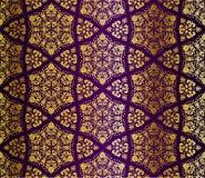 蔓藤花纹金子紫色无缝 库存照片