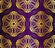 蔓藤花纹金蜂窝紫色无缝 免版税库存图片