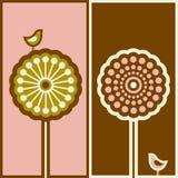 蔓藤花纹鸟逗人喜爱的结构树 免版税库存照片