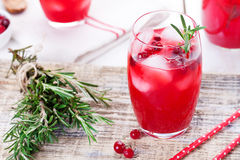 蔓越桔和迷迭香柠檬水,鸡尾酒,在木背景的嘶嘶响 免版税库存照片