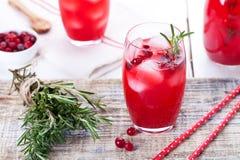 蔓越桔和迷迭香柠檬水,鸡尾酒,在木背景的嘶嘶响 免版税图库摄影