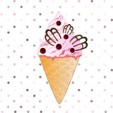 蔓越桔在白色背景的冰淇凌 免版税图库摄影