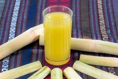 蔗汁用在玻璃的糖浆 免版税库存照片