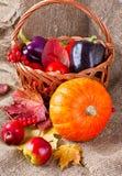 蔬菜、水果和叶子秋天静物画  免版税图库摄影