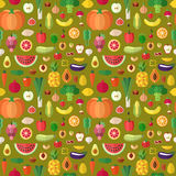 蔬菜、水果和胡说的无缝的传染媒介样式 平的设计 免版税库存图片