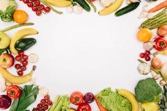 蔬菜和水果顶视图  图库摄影