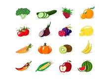 蔬菜和水果,有机健康食品汇集平衡饮食,隔绝在白色空间向量例证 皇族释放例证