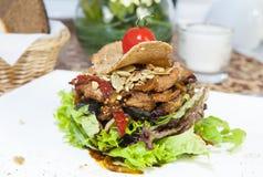 蔬菜和肉温暖的沙拉 库存照片