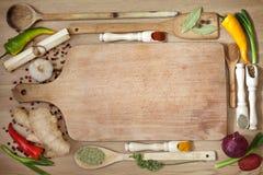 蔬菜和香料边界 库存照片