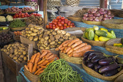 蔬菜和水果在一个马达加斯加人的市场上 免版税库存图片