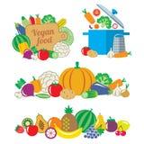 蔬菜和水果平的stiyle静物画和边界  免版税库存图片
