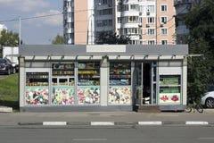 蔬菜和水果微型市场在俄罗斯 库存图片