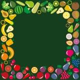 蔬菜和水果象方形的框架 库存照片