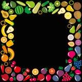 蔬菜和水果象方形的框架 库存图片