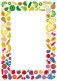 蔬菜和水果象长方形框架 免版税库存图片