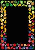 蔬菜和水果象长方形框架 库存图片