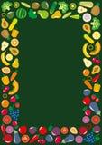 蔬菜和水果象长方形框架 库存照片