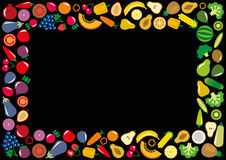 蔬菜和水果象长方形框架 免版税库存照片